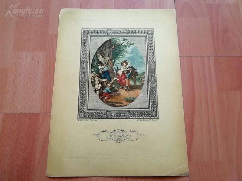 1949年彩色蚀刻版画《十一月》(November)--真正的彩色蚀刻,重现点刻大师弗朗切斯科·巴尔托洛基作品--巴黎蚀刻协会出品--32*23.5厘米