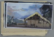 中国人民解放军八一电影制片厂二级美术设计师 赵常生 手绘舞台布景水彩设计原稿一组七页附话剧舞台与道具平面设计图油印件二十页 HXTX112304