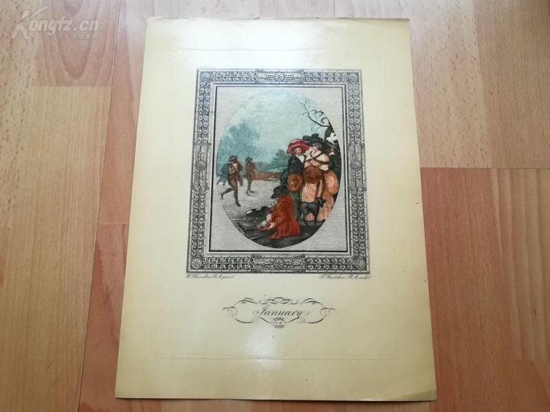 1949年彩色蚀刻版画《一月》(January)--真正的彩色蚀刻,重现点刻大师弗朗切斯科·巴尔托洛基作品--巴黎蚀刻协会出品--32*23.5厘米