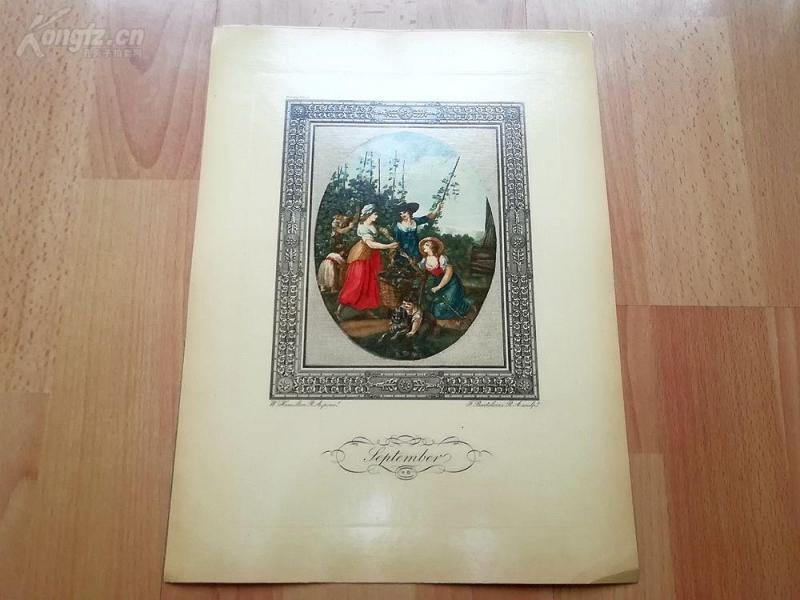 1949年彩色蚀刻版画《九月》(September)--真正的彩色蚀刻,重现点刻大师弗朗切斯科·巴尔托洛基作品--巴黎蚀刻协会出品--32*23.5厘米