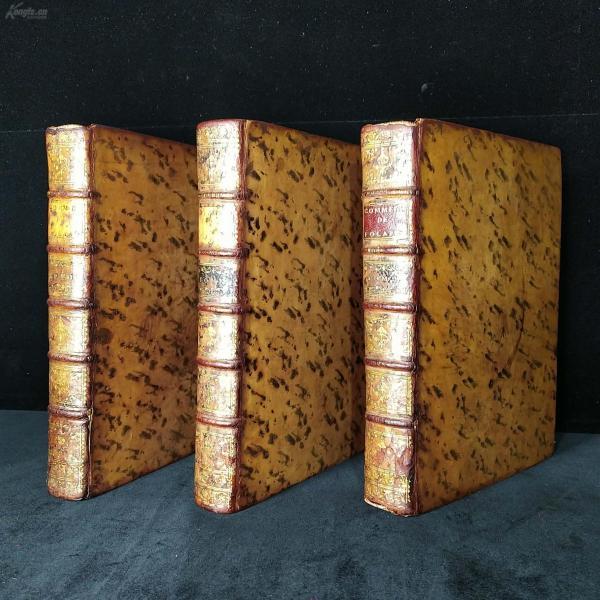 珍本 - 1754年,馆藏级古罗马军事、战争重磅史料!法文《福拉德评论--波利比乌斯的历史》3卷全,113张拉页铜版画!25.5 * 19*4cm,约4kg,全真皮外封!全水印手工纸印制(见图4)。图文完整不缺!