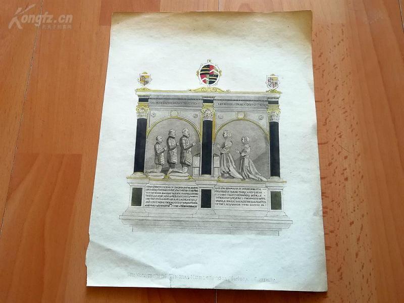 19世纪蚀刻《切尔西教堂里的纪念碑》(The Monument Of Thomas...)---手工上色,版画纸张27*21厘米