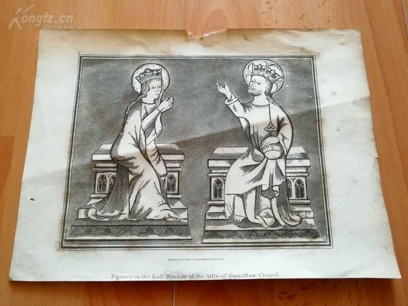 19世纪蚀刻《豪恩斯洛教堂走廊东侧窗户的图案》(Figures in the East window of the Aisle of Hounslow Chapel)---版画纸张27.2*20厘米