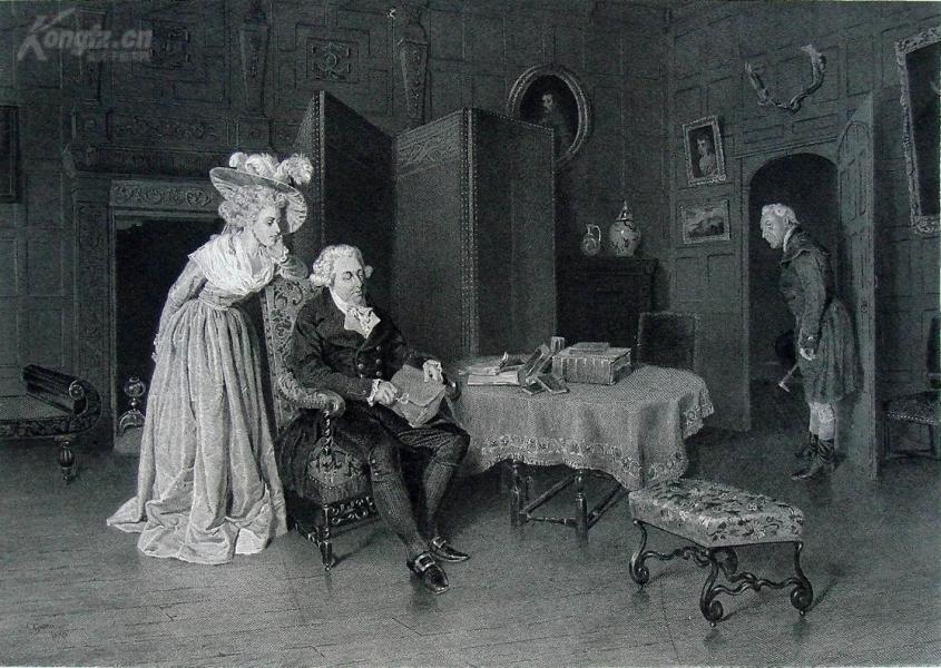 """1875年艺术画廊系列钢版画《信件包》 ——英国画家""""C. Green""""作品 尺寸:37x27cm 附文字介绍"""