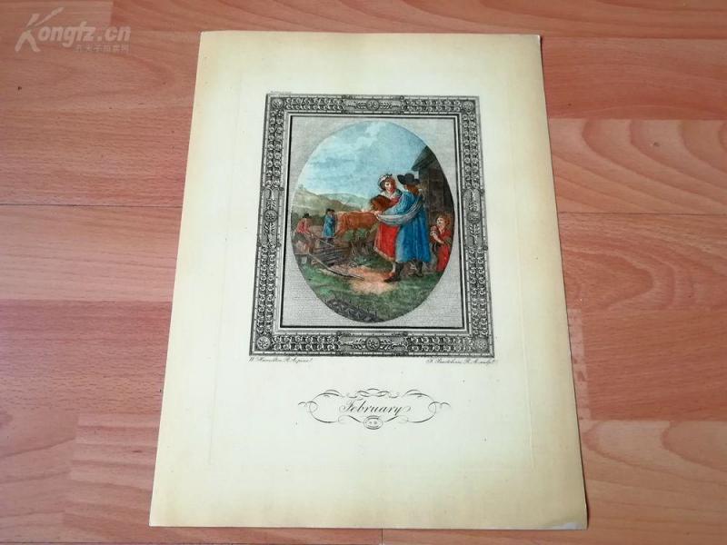 1949年彩色蚀刻版画《二月》(February)--真正的彩色蚀刻,重现点刻大师弗朗切斯科·巴尔托洛基作品--巴黎蚀刻协会出品--32*23.5厘米