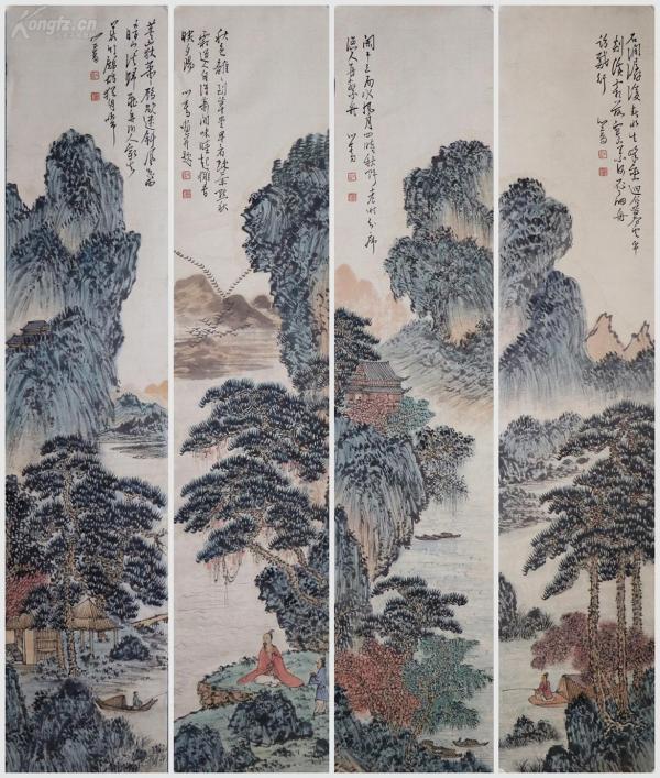 """著名书画家,与张大千有""""南张北溥""""之誉,又与吴湖帆并称""""南吴北溥""""《溥心畬》山水四条屏"""