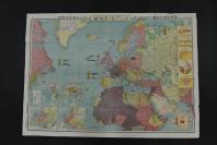 (乙1750)二战史料《最新欧洲大地图》一张 大尺寸 彩色地图单面 日本雄辩会讲谈社发行(日本右翼组织) 欧洲各国的面积比较、人口密度  列强国势国防一览 各国兵力、军舰数量等介绍 尺寸:106CM*76CM  1936年
