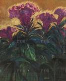 著名木刻家、原中央美术馆馆长 刘岘 蜡笔油彩画作品《鸡冠花》一幅 带框(尺寸:72*58cm)HXTX112758