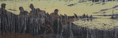 著名版画家、曾任上海人民美术出版社副编审 吴光华 1958年套色木刻版画《黄海渔民》一幅(纸本立轴,画芯尺寸:33*96cm,钤印:云山光华木刻)HXTX112759