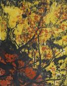 著名版畫家、原中華全國木刻協會理事 陳珂田 1983年套色木刻版畫《楓葉紅了》一幅 HXTX119525
