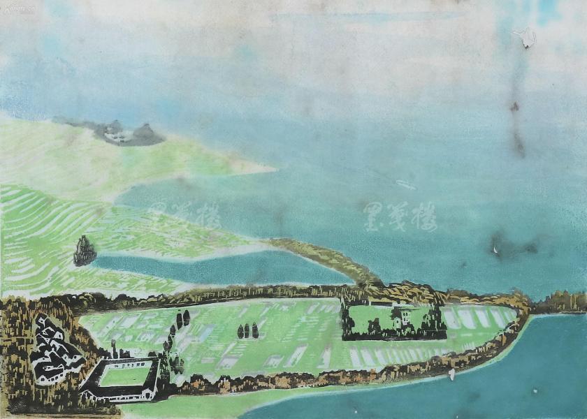 著名藝術家、原四川美術出版社編審 杜琦 套色木刻版畫《昆明湖水碧連天》一幅 HXTX119526
