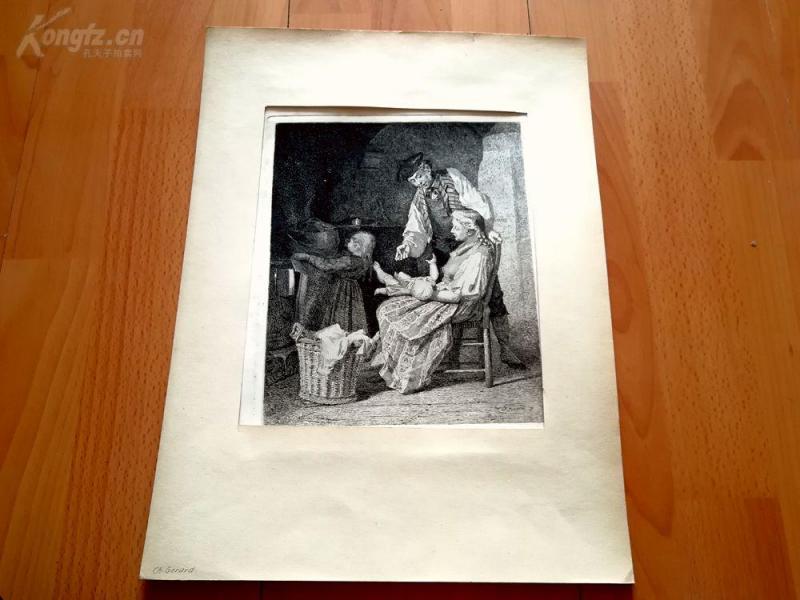 19世纪蚀刻《老二总是更受宠》(Das zweite Kind wird immer vor dem bevorzugt)---卡纸画框,40*29.5厘米
