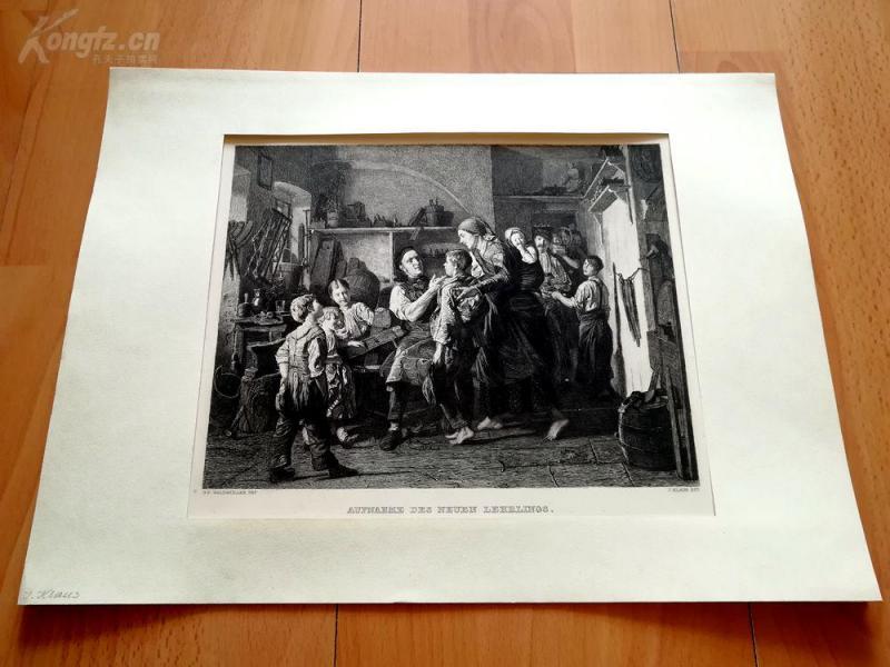 19世纪蚀刻《招收新学徒》(AUFNAHME DES NEUEN LEHRLINGS)---卡纸画框,41.5*29.5厘米