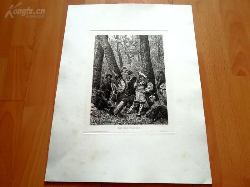 19世纪蚀刻《节日游行前》(VOR DEM FESTZUG)---版画纸张尺寸47.5*36厘米