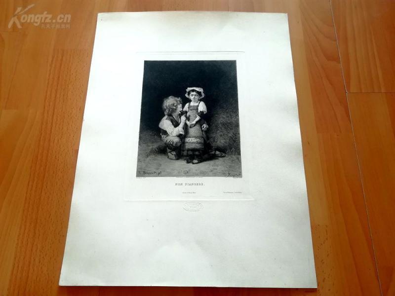19世纪蚀刻《不要哭》(NON PIANGERE)---钢印,版画纸张尺寸47.5*35.8厘米