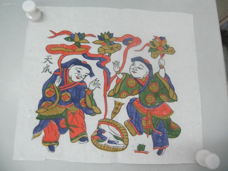 朱仙镇天成老店木版套色人物年画   一张  尺寸29/25厘米 04