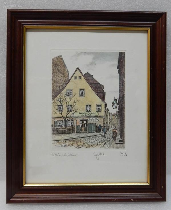 【2】德国套色铜版画连原装镜框《Paul Christoph 核桃餐馆》