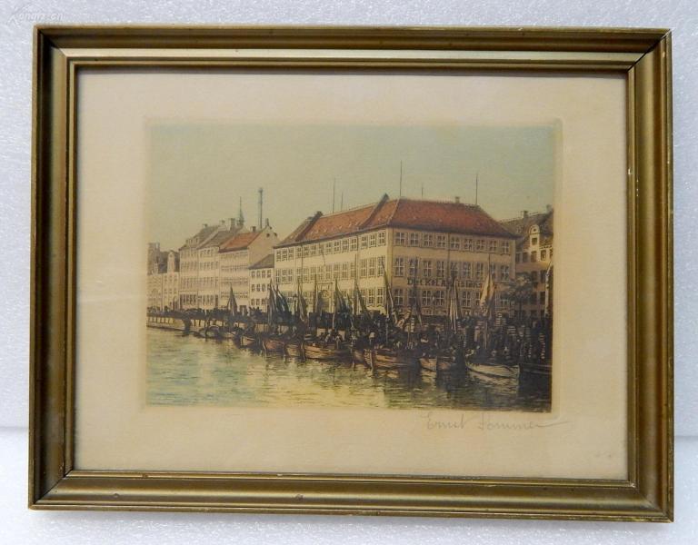 【12】德国套色铜版画连原装镜框《河边的红屋顶房子》