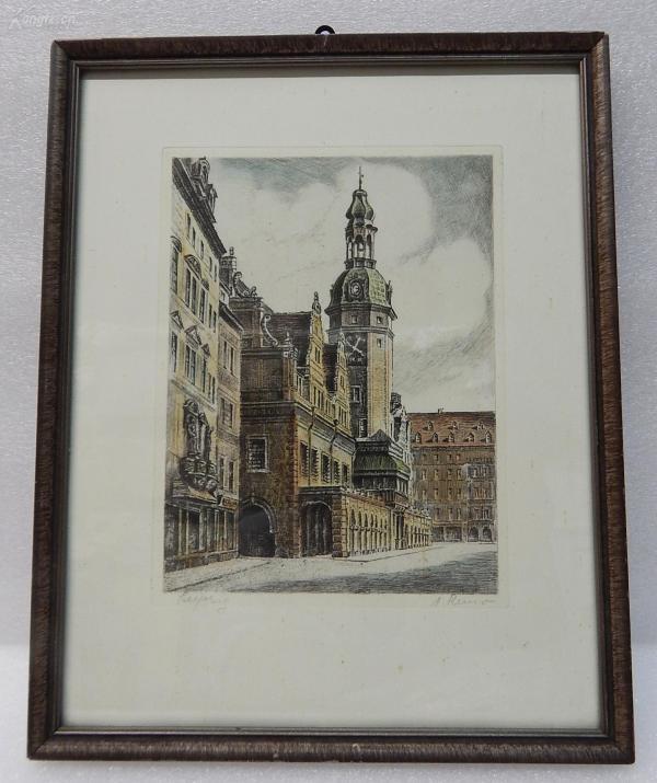 【15】德国套色铜版画连原装镜框《钟楼》