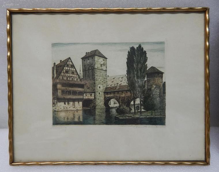【9】德国套色铜版画连原装镜框《廊桥》