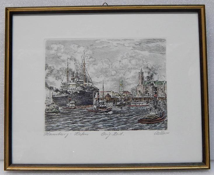 【1】德国套色铜版画连原装镜框《汉堡港口》