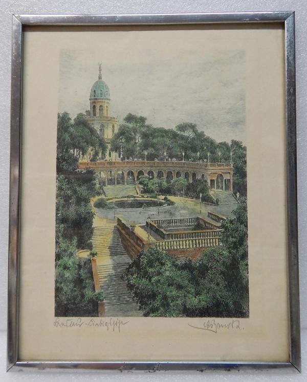 【6】德国套色铜版画连原装镜框《圆顶建筑前的花园》