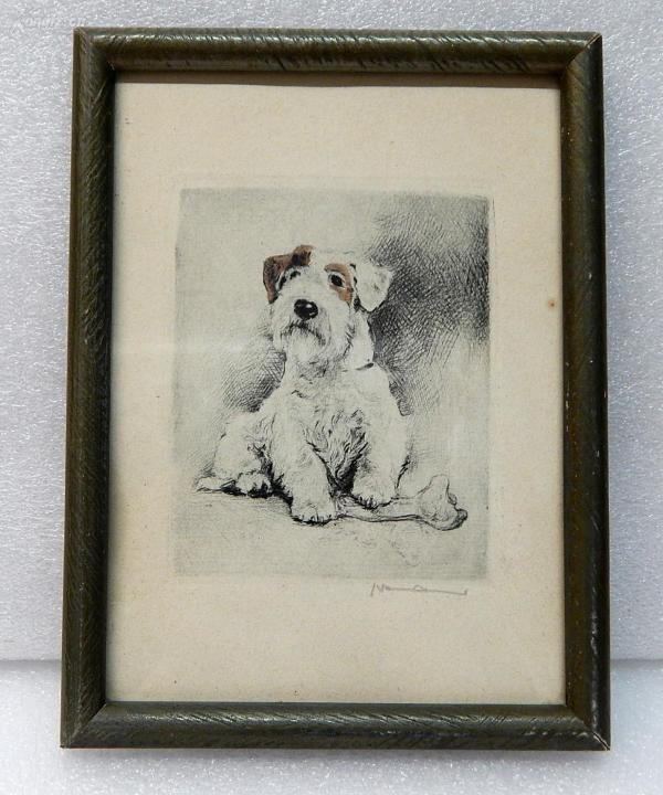 【14】德国套色铜版画连原装镜框《小狗》