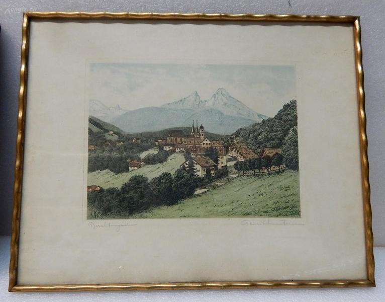 【10】德国套色铜版画连原装镜框《山中小镇》