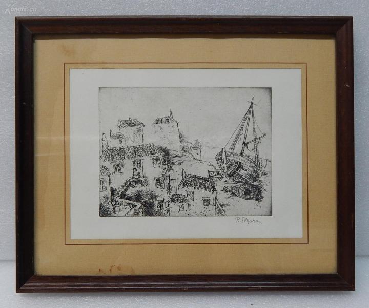 【5】德国Peter Stephan铜版画连原装镜框《渔村》