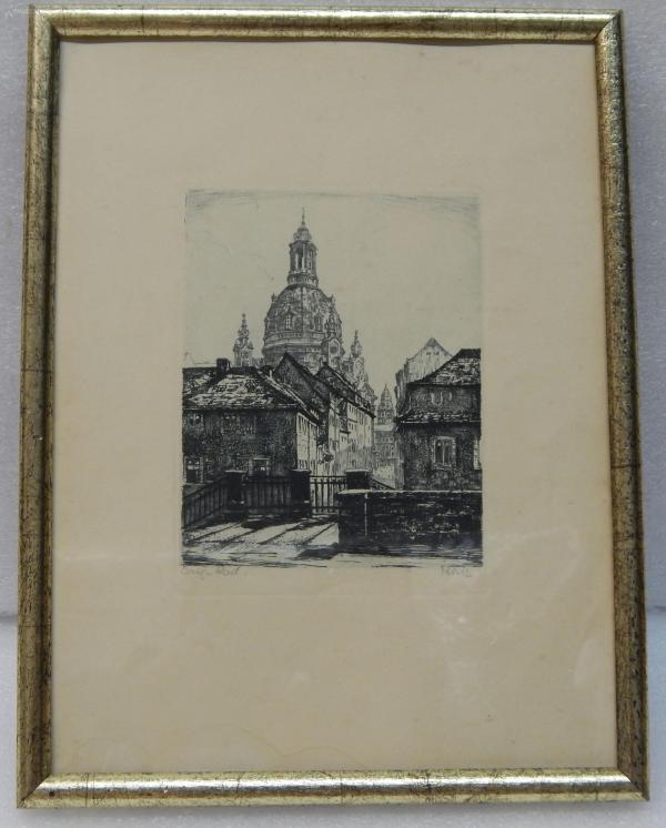 【7】德国铜版画连原装镜框《大教堂》