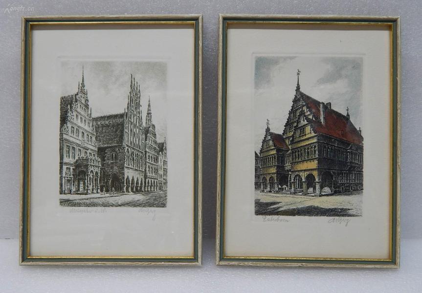 【3】德国套色铜版画一对  连原装镜框《建筑风景》