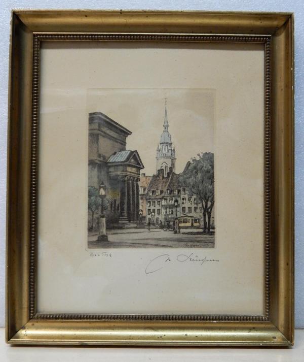 【4】德国1927年套色铜版画连原装镜框《尖顶钟楼建筑风景》