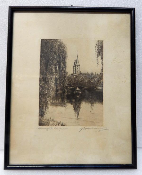 【17】德国套色铜版画连原装镜框《四棱双塔楼风景》
