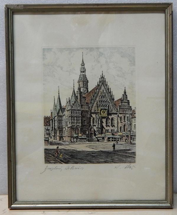 【16】德国套色铜版画连原装镜框《尖顶教堂景色》
