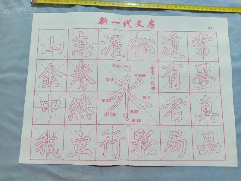 练毛笔字,初学,水写布,万次重复使用,永字八法型,也可以给孩子当玩具,尺寸43*32cm