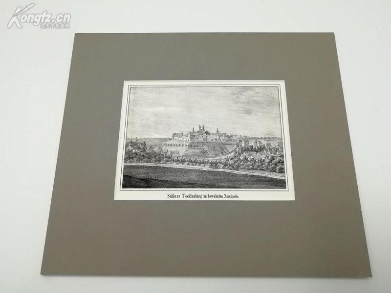 19世紀石版畫《特克倫城堡風光、德國》(schloss tecklenburg im bewohnten zustande)---卡紙畫框21.5*17.5厘米