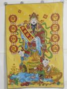 财神像织锦一幅,恭喜发财、财源广进、吉祥如意,彩色丝线钩织,底价结缘包邮