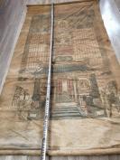 清代 135*72  画在布上的彩色的历代祖宗画像一张  HJ