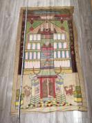 清代137*74  画在布上的彩色历代祖宗画像一张 HJ