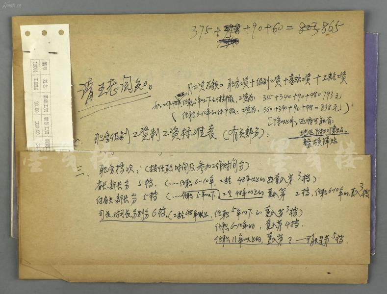 王-定-國舊藏:謝覺哉夫人、老一輩革命家、親歷長征女紅軍之一 王定國 1994年 職務工資表一份兩頁;附工資條打印件一頁,帶黨建讀物出版社信封一枚 HXTX118288