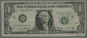 老版一元美金折白变体一张 HXTX117823
