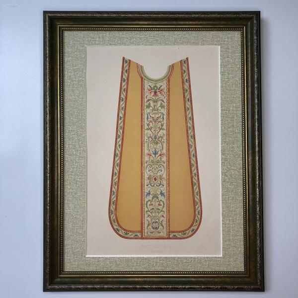 大幅法國19世紀彩色石版畫 裝飾藝術 十六世紀宗教服飾花邊 Habit Religieux, XVI e. Siècle