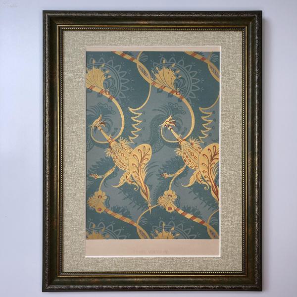 大幅法國19世紀彩色石版畫 裝飾藝術 十七世紀威尼斯布料紋樣 étoffe Vénitienne