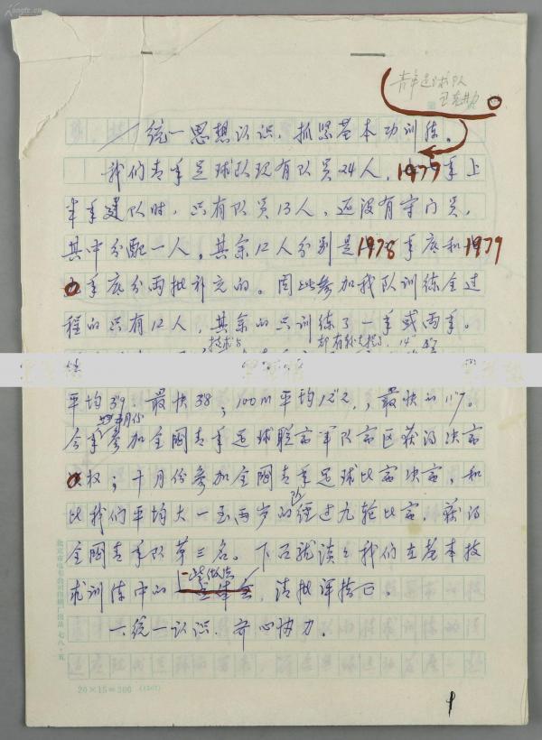 著名足球運動員、原八一足球教練 王克勤 1980年手稿《統一思想認識,抓緊基本功訓練》一份14頁 HXTX119456