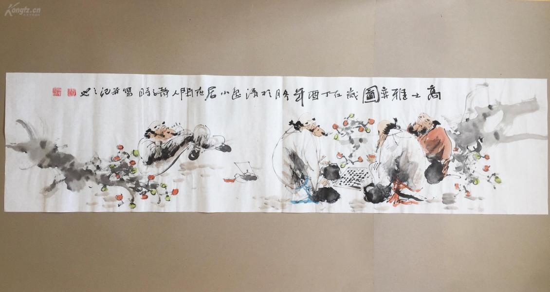 【文人水墨人物画】--高士雅弈图      书画真迹