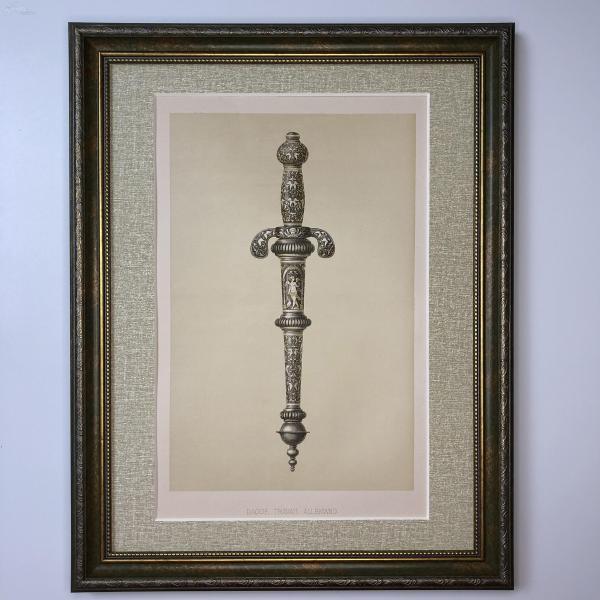 大幅法國 19世紀彩色石版畫 裝飾藝術 十六世紀德國古董匕首 Dague Travail Allemand