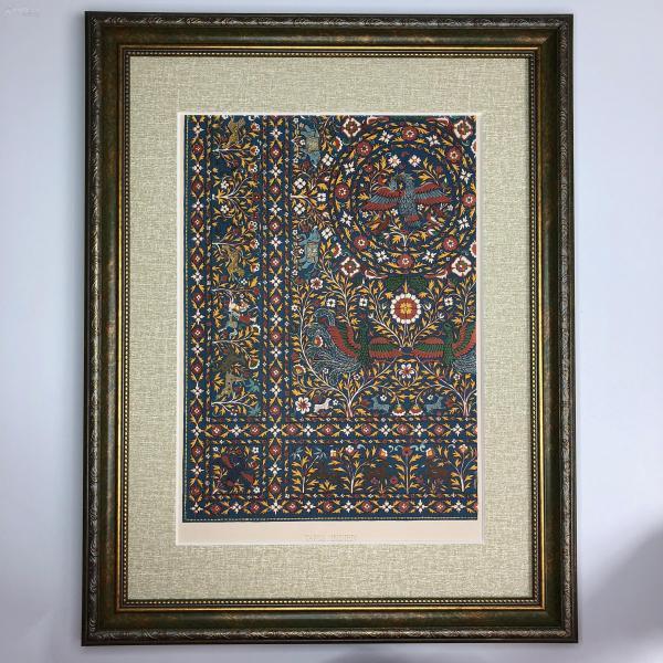 大幅法國 19世紀彩色石版畫 裝飾藝術 十六世紀印度地毯紋飾 Tapis Indien