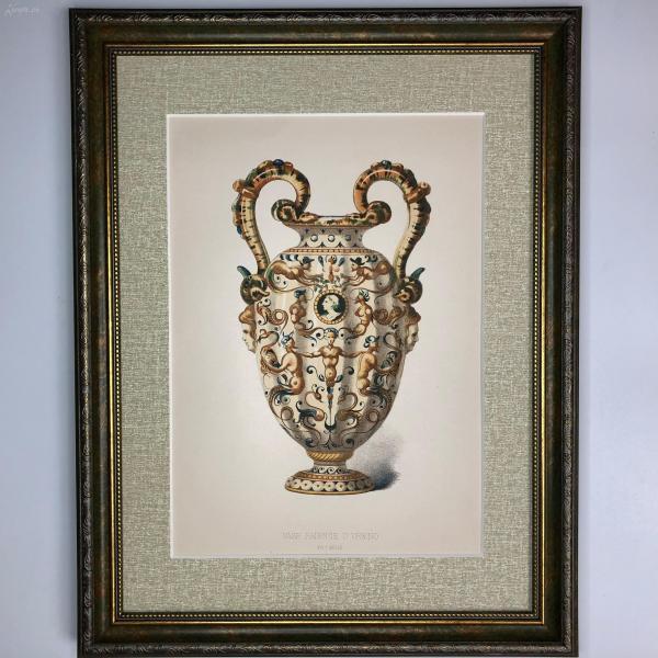 大幅法國 19世紀彩色石版畫 裝飾藝術 十六世紀意大利烏爾比諾陶器花瓶 Vase Fa?ence DUrbino