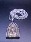 泰式释迦摩尼佛牌项链,鎏金佛像,藏银挂坠,水晶封盖,底价结缘包邮