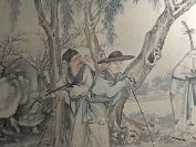 清末,全国罕见的专门画盲人的一幅作品整幅作品有十个盲人,职业不同,男女老幼都有。。。。这个题材的古画,全国罕见,识者珍之,识者宝之[耶][耶][耶]尺寸很大六尺左右  乐